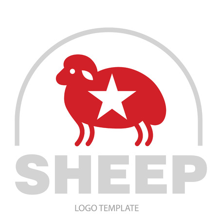 Stylized drawing of sheep - for icon or sign template
