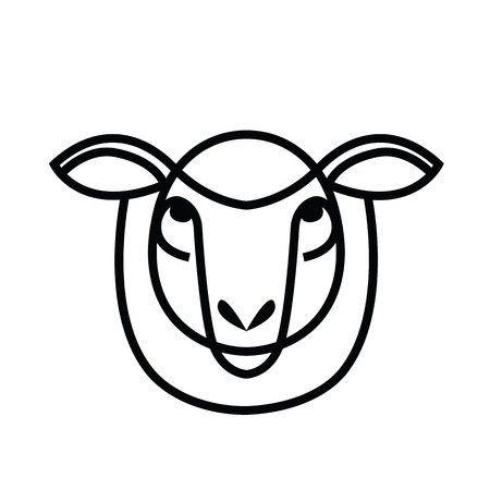 Linear stylized drawing - head of sheep or ram - for icon or sign template. Ilustração