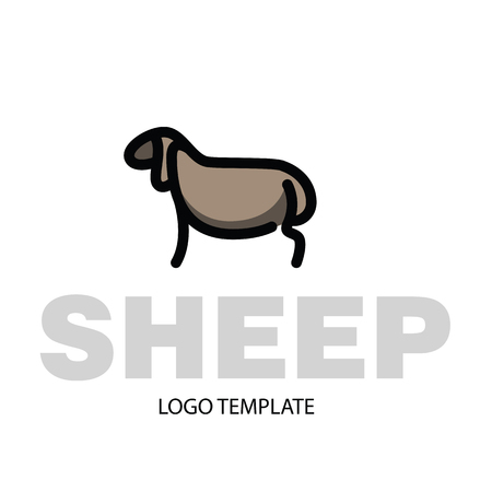 Linear stylized drawing of sheep or ram - for icon or sign template Imagens - 81429936
