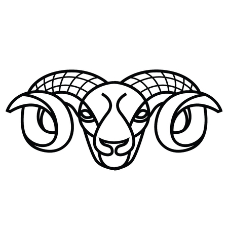 Linear stylized drawing - head of sheep or ram - for icon or sign template Imagens - 81429937