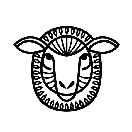 Linear stylized drawing - head of sheep or ram - for icon or sign template Imagens - 81429952