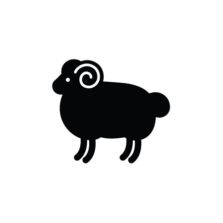 Linear stylized drawing of ram - for icon or sign template Imagens - 81429976