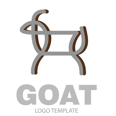 Linear stylized drawing goat or nanny - for icon or sign template