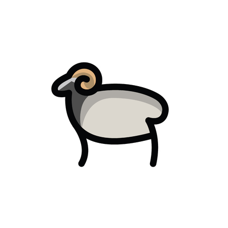 Linear stylized drawing of ram - for icon or sign template Imagens - 81430021
