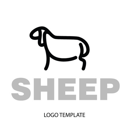 Linear stylized drawing of sheep or ram - for icon or sign template Imagens - 81430024
