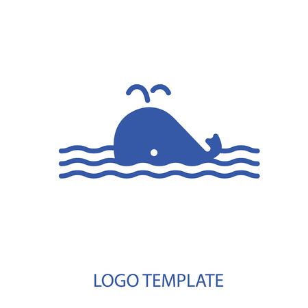 Linear stylized drawing of whale - for icon or sign template Иллюстрация