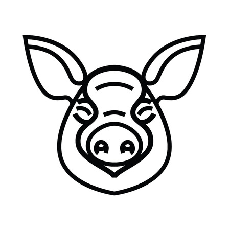 Linear stylized drawing of pig swine - for icon or sign template