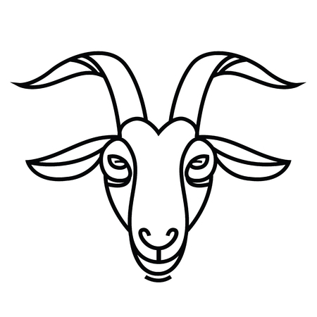 Linear stylized drawing - Goats head - for icon or sign template