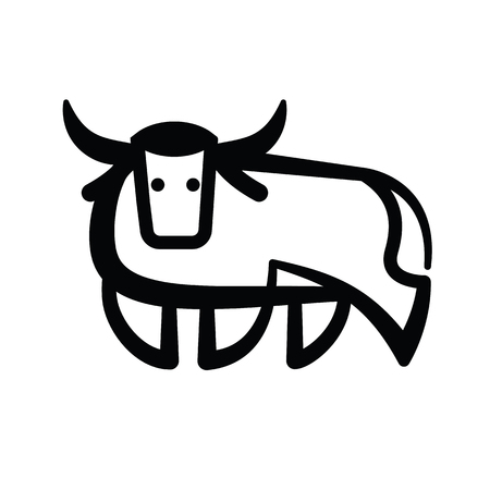 Linear stylized drawing of bull ox or cow - for icon or sign template 矢量图像