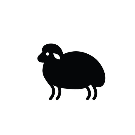 ruminant: Black and white drawing of sheep - for stylized icon or sign template