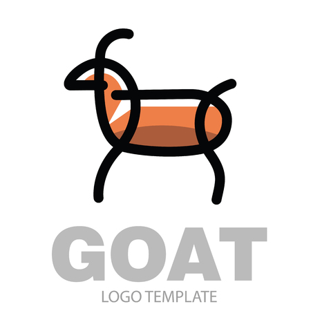 Color stylized drawing goat or nanny-goat - for icon or sign template Illustration