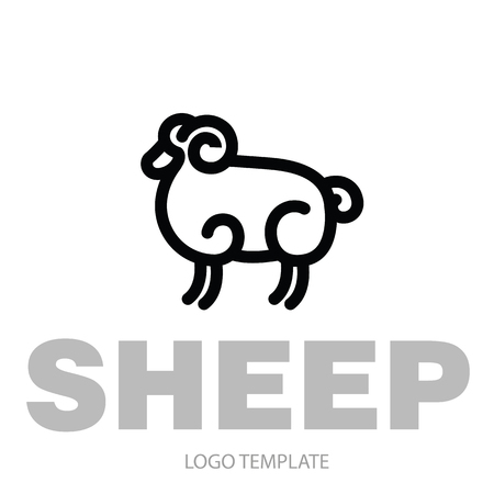 Linear stylized drawing of ram - for icon or sign template Imagens - 81430876