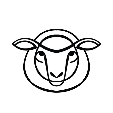 ruminant: Linear stylized drawing - head of sheep or ram - for icon or sign template