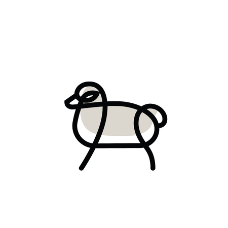 Linear stylized drawing of sheep or ram - for icon or sign template Imagens - 81430925