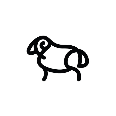 Black and white drawing of sheep - for stylized icon or sign template Imagens - 81430947