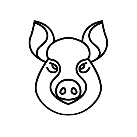rooting: Linear stylized drawing of pig swine - for icon or sign template