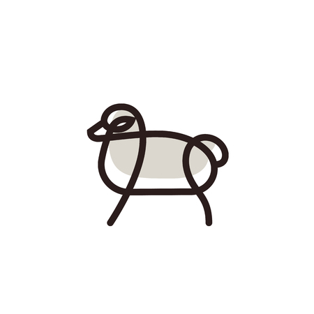 Linear stylized drawing of sheep - for icon or sign template