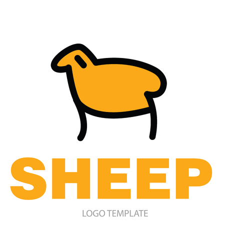 ruminant: Color stylized drawing of sheep or ram - for icon or sign template