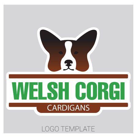 herding: Colorful vector drawing of dog head of Welsh Corgi breed
