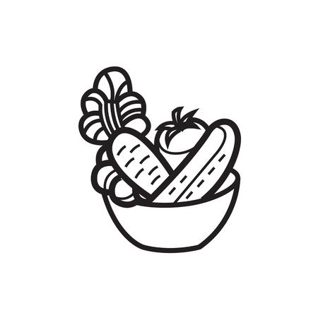 벡터 일러스트 레이 션 - 음식 아이콘에 대 한 그릇에 야채 샐러드