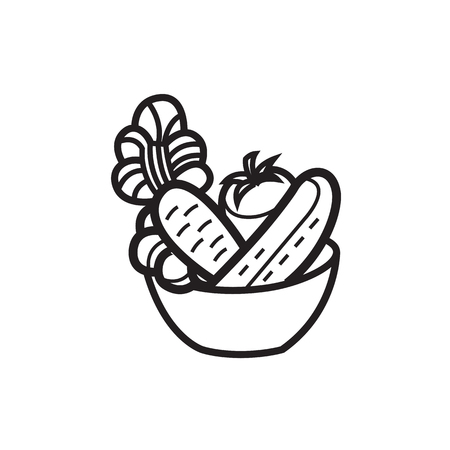 Vectorillustratie - Plantaardige salade in een kom - voor voedselpictogram Stock Illustratie