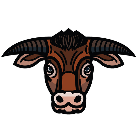 lurid: Vector colorful drawing of the head of powerful horned bull