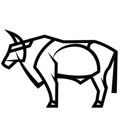 Vector black and white stylized draving powerful horned standing bull Illustration