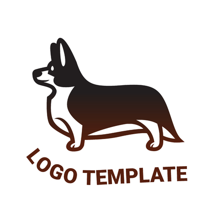 Sign template with stylized vector drawing of a dog Welsh Corgi breed standing in profile Illustration