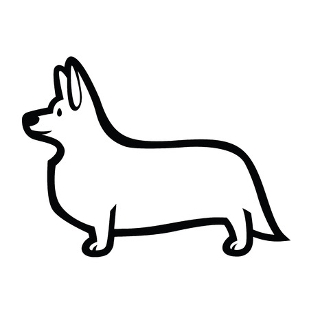 Drawing of standing in profile dog Welsh Corgi breed Illustration