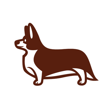 Stylized vector drawing of a dog Welsh Corgi breed standing in profile Illustration