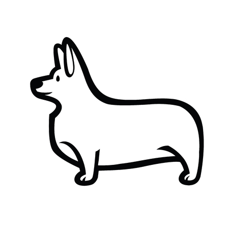 Black and white vector drawing of standing in profile tailless dog Welsh Corgi breed Illustration