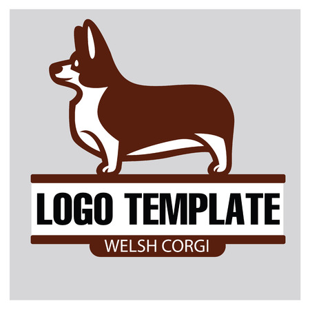herding: Sign template with stylized vector drawing of a dog Welsh Corgi breed standing in profile Illustration