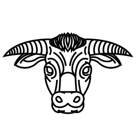 Vector drawing of the head of powerful horned bull Illustration