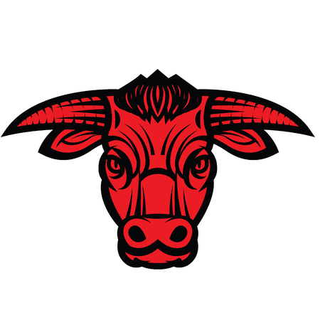 beast ranch: Vector drawing of the head of powerful horned bull Illustration