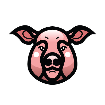 Vector color image of swine or pig head - mascot emblem Illustration