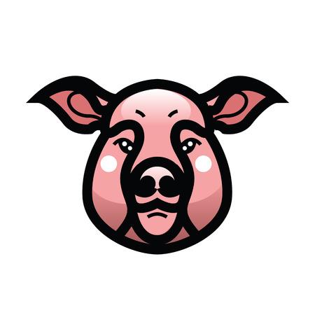 Vector color image of swine or pig head - mascot emblem Illustration