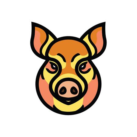 Image couleur vectorielle de la tête des porcs ou des porcs - emblème de la mascotte Vecteurs