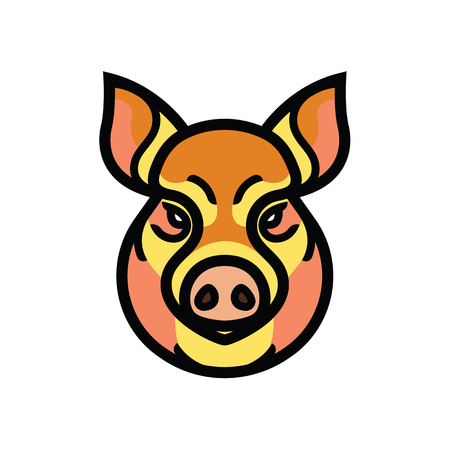 omnivorous: vector color image of swine or pig head - mascot emblem