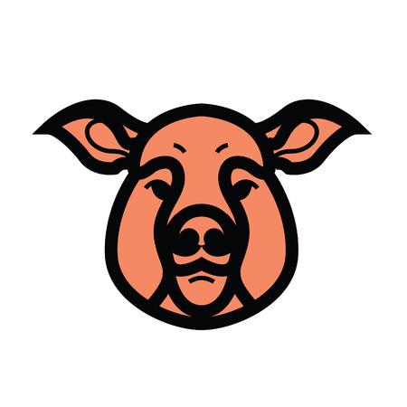 vector color image of swine or pig head - mascot emblem