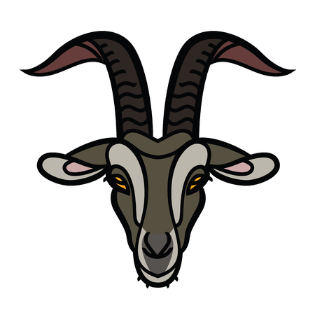 Goat head color icon, outline vector sign, linear pictogram - symbol, logo illustration