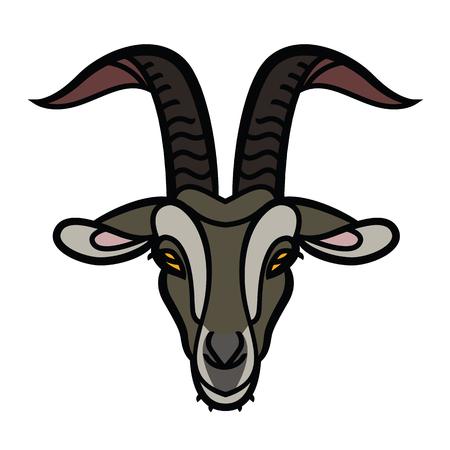 Goat head color icon, outline vector sign, linear pictogram - symbol, logo illustration