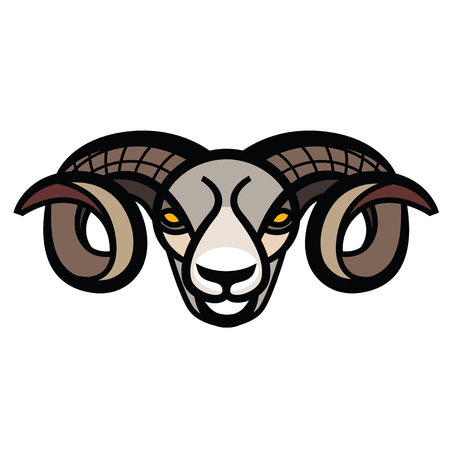 bighorn: Color stylized drawing head of horned powerful ram