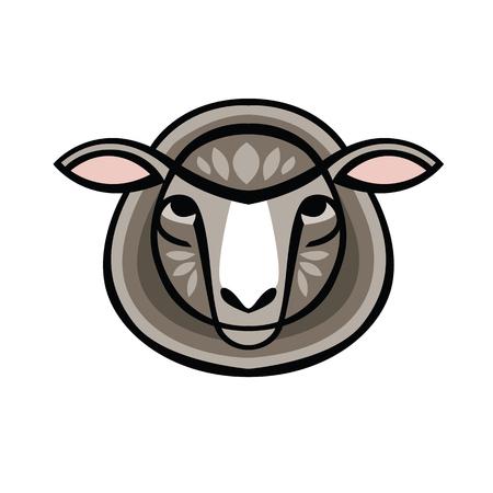 Vector illustrated Portrait of Ram or sheep Ilustração
