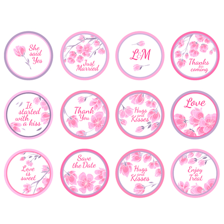 Personalized Candy Sticker Labels with sakura big set - perfect addition to wedding or party favors Vektoros illusztráció