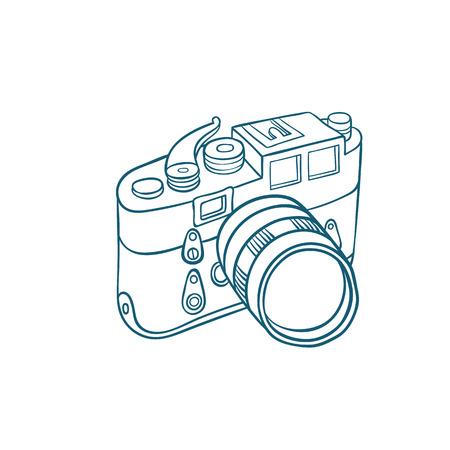Retro photo camera - Hand-drawn doodle sketchy ink vector illustration Illustration
