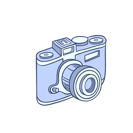 Retro photo camera - Hand drawn sketch ink vector illustration