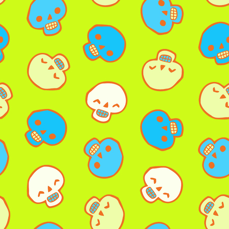 Seamless infinite background with skulls - Halloween Pattern for greeting cards, packing, cards, packets, flyers Illustration