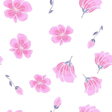 Seamless cherry blossom or sakura floral pattern Ilustracja