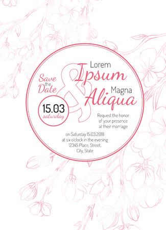 Invitation Bridal Shower Card With Sakura Vector Template Royalty - Bridal shower card template