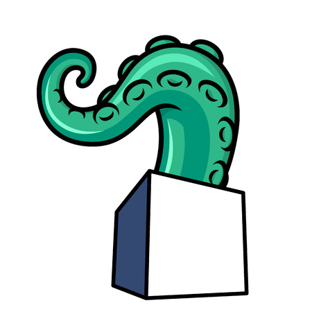 The tentacle crawls out of a square box vector illustration Illustration